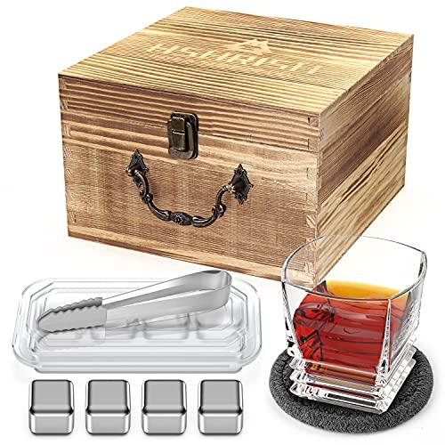 Hshrish Set di bicchieri da whisky, Old Fashion Medusa intagliati, 300 ml, 1 confezione, bicchiere sottobicchiere ghiaccio pinza set, confezione regalo in legno per gli uomini