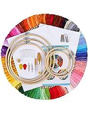 IMMEK borduurset startersset, kruis met 100 gekleurde filiën, 5 stuks bamboe velgen 12 18 inch Aida en naalden van de Classic Count tot 14 inch (14 cm)