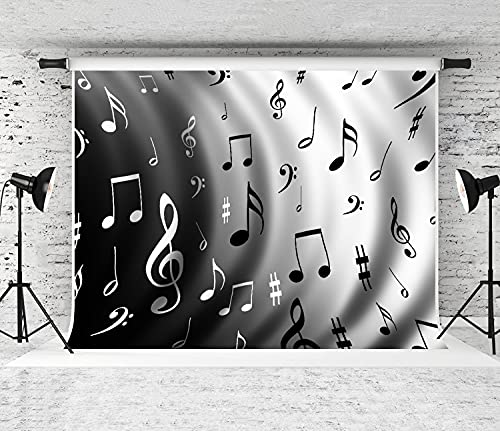 NANITHG Photography Background an Illustration of a Music Notes Party Decoration Banner Photo Booth Backdrop for Studio Props 12x8FT