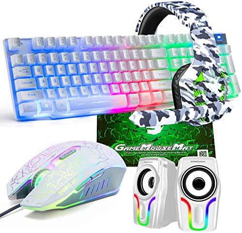 Gaming Keyboard and Mouse 5 in 1 Gaming Combo 12W HD Sound Speakers Rainbow LED Backlit Wired product image