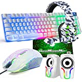 Gaming Keyboard and Mouse,5 in 1 Gaming Combo,12W HD Sound Speakers Rainbow LED Backlit Wired Keyboard,2400DPI 6 Button Optical Gaming Mouse,Gaming Headset,Gaming Mouse Pad for PC Gaming(White)