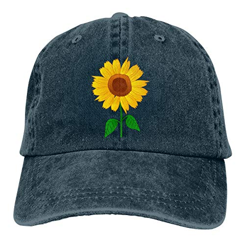 NVJUI JUFOPL Women's Cute Sunflower Baseball Cap Vintage Washed Adjustable Funny Trucker Hat Navy