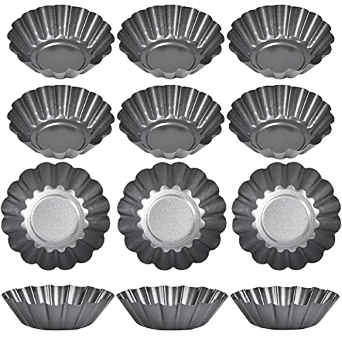 Egg Tart Mold Baking Cups, 12 Pieces Carbon Steel Tart Pan Cookie Mold, Non-Stick Flower Muffin Case, Upgrade Bigger Size 7.5 x 2.3cm, for Pudding, Pan Baking, Bakeware, Cookies Cake Tool