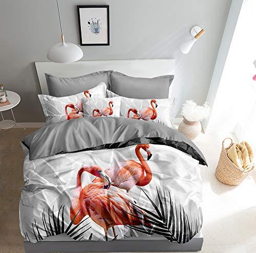 Juego de cama 3D con diseño de flamencos, 135 x 200 + 80 x 80 cm, doble cara, coral, blanco y gris, con cierre