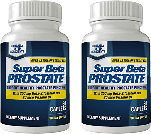 Super Beta Prostate Supplement for Men - Urinary Health & Prostate Support w/Beta Sitosterol, not Saw Palmetto - Reduce Bathroom Trips, Promote Sleep, Better Bladder Emptying (120 Caplets, 2-Pack)