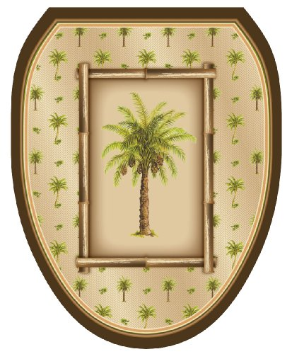 Toilet Tattoos, Toilet Seat Cover Decal,Bahamas Breeze Palm Tree, Size Elongated