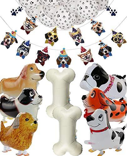 Fuentes de la Fiesta de Cumpleaños del Tema del Perro, 2 Set Pancartas de Perro y 18 Piezas de Globos Temáticos Para Perros para Fiesta de Cumpleaños de Niños y Cachorros