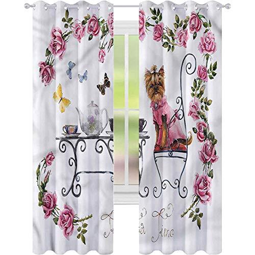Cortinas opacas para dormitorio Yorkie Terrier en vestido rosa W52xL84 cortinas decorativas para sala de estar