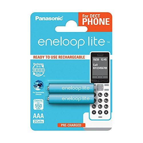 Panasonic eneloop lite, Ready-to-Use Ni-MH Akku, AAA Micro, 2er Pack für Schnurlostelefone (DECT), min. 550 mAh, 3000 Ladezyklen, geringe Selbstentladung, wiederaufladbare Akkubatterie