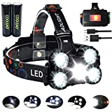 Linterna frontal LED Recargable de Trabajo, 8000...