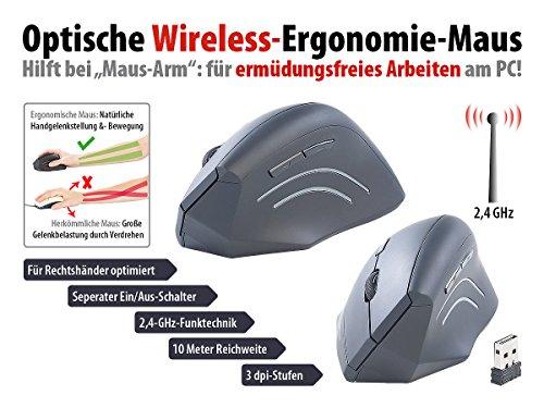 GeneralKeys Ergonomische Funkmaus: Ergonomische Optische Funk-Maus, 1.600 DPI, 6 Tasten (Vertical Mouse)