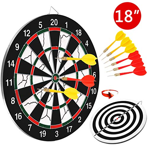 BATTOP DoubleSided Dart Board for Kids w/ 6 Steel Tip DartsExcellent Indoor Outdoor Darts Game and Party Games for Teenage Boys Toy Gift amp Adults Family Time Leisure Sport