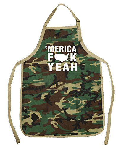 Funny Guy Mugs Merica FCK Yeah Apron with Pockets for Dad - Funny Apron - Perfect for BBQ Grilling...