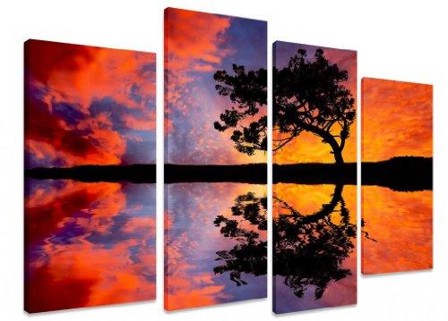 """Lienzo de Lienzo Grande con diseño de árbol en Color Naranja, Morado, Rojo, Azul y Cielo Feria con Reflejo – Arte Depot Outlet – 4 Paneles – 101 cm x 71 cm (40""""x28"""")"""