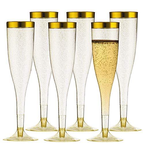 Cabina Home 30 Champagnerflöten aus Kunststoff, 5,5 oz, transparenter Kunststoff, Einwegbecher, Toast-Gläser, für Partys, Hochzeiten, Familie, Sammeln Gold / Glitzer