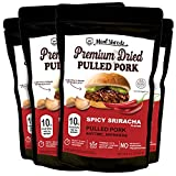 Meat Shredz - Premium Dried Pulled Pork (Spicy Sriracha, 4 Pack) | No Preservatives | High Protein & Low Sugar | Bacon Bits | Dehydrated Backpacking & Camping Food | Shredded, Dried Jerky Chew Snack