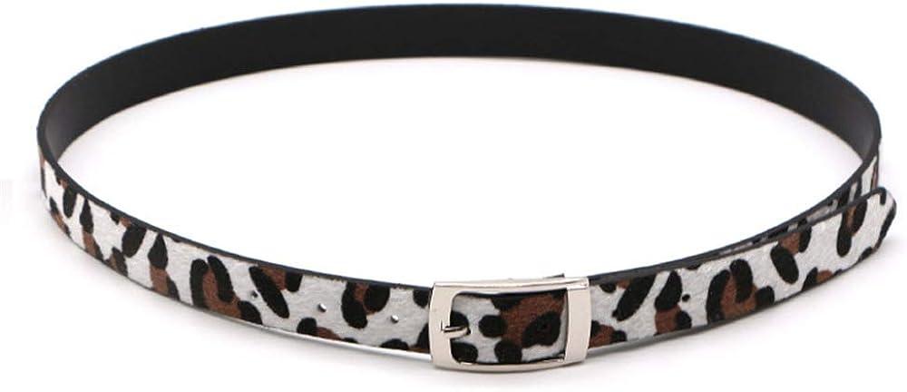 Easy Go Shopping Cinturón de Mujer Leopardo Cinturón Fino Vestido Capa decoración cinturón (Color : Blanco)