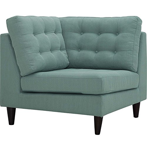 Modway Empress Mid-Century Modern Upholstered Fabric Corner Sofa In Laguna