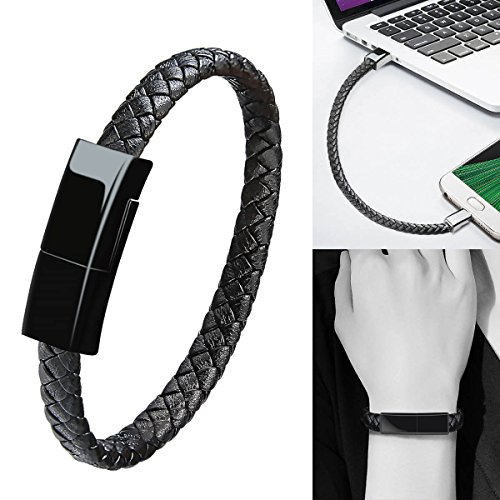 Bracelet USB Type C Cable Data Sync Durable Leather Braided Wrist Bracelet Portable Short Type C Charging Cable Compatible Samsung Galaxy S8+,HTC 10/U11,OnePlus 2/3T,Huawei P9/10 ect (Black-8 inch)