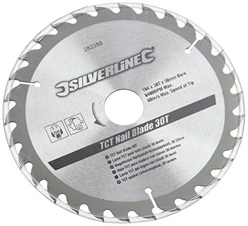 Silverline 282390 Nagelfestes Hartmetall-Kreissägeblatt, 30 Zähne 184 x 30, ohne Reduzierstücke