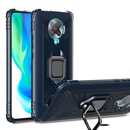 TANYO Hülle für Xiaomi Poco F2 Pro/Pocophone F2 Pro 5G, Schutzhülle TPU Silikon Armor Handyhülle mit Ständer, Stoßfeste Silikonhülle mit Bumper, Blau