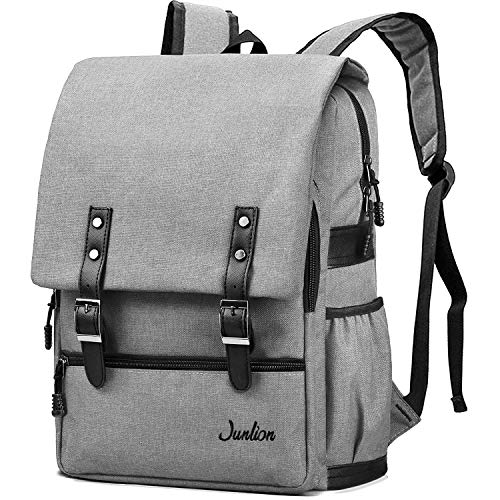 Junlion Solid Color Laptop Backpack for College Student Casual Rucksack Canvas Travel Bag for Preppy Freshman Light Gray