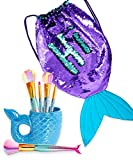 GirlZone Bundle: Mermaid Tail Sequin Backpack for Girls, Purple & Turquoise Reversible Sequins & Mermaid Tail Rainbow Makeup Brushes with Ceramic Mermaid Tail Container, Great Gifts For Girls
