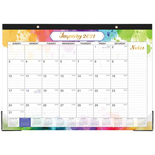 2021 Desk Calendar - 12 Months Desk Calendar, 17' x 12', Monthly Desk or Wall Calendar, January 2021 - December 2021, Large Ruled Blocks Perfect for Planning and Organizing for Home or Office