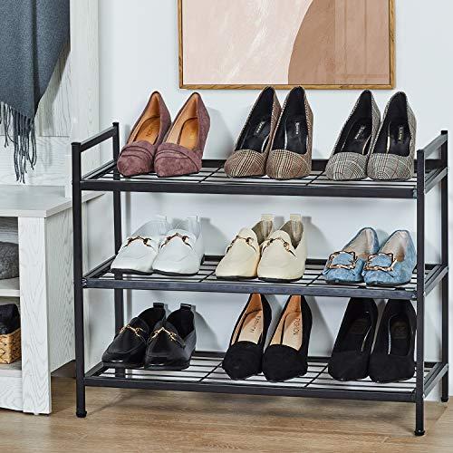 DICTAC Schuhregal mit 3 4 5Ebenen, Schuhständer mit Ablagen (3 Etagen)