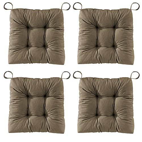 sleepling 197411 - Juego de 4 cojines de asiento para silla de EVA para interior y exterior, medidas: 40 (delantera), 35 (traseros) x 38 x 7 cm, color marrón