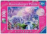 Ravensburger 12907 Unicorn Kingdom 100 Piece Glitter Jigsaw Puzzle for Kids – Every Piece is Unique, Pieces Fit Together Perfectly