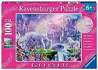 Ravensburger 子供のための12907ユニコーン王国100枚グリッタージグソーパズル - すべての作品はユニークで、作品は完全に一緒にフィット