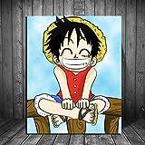 Amrzxz DIY-Personaje de Anime Luffy DIY Pintura al óleo por número Kit, Pintura de la Dibujo con Pinceles decoración de Navidad Decoraciones Regalos(sin Marco) 30x40cm