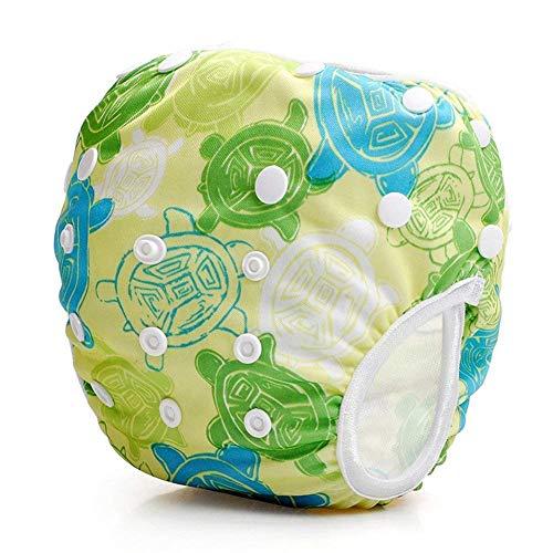 Baby zwembroek herbruikbaar wasbaar verstelbaar badluier broek geschikt voor 0-36 maanden baby Groene schildpad