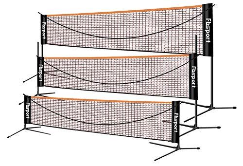 FBSPORT Badmintonnetz,Tennisnetz 3-6m Tragbares Volleyball Federballnetz Trainingsnetz 3 Höhen könneneingestellt Werden zusammenklappbare Badminton-Netzablage,drinnen und draußen