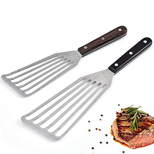 Espátula ranurada de acero inoxidable, extra ancha – Espátula de pescado de cocina con mango de madera, para hornear, asar, freír tortitas, espátula, color plateado (2 unidades)