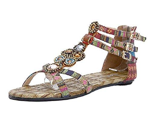 Mujer Sandalias Planas Bohemia Adorno De Rhinestone Romanas Zapatos de Hebilla de Clip del Dedo del pie Vino Rojo 38EU