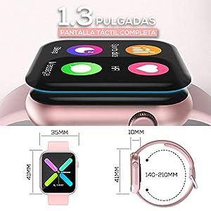 WWDOLL Smartwatch Mujer, 1.3 Pulgadas Reloj Inteligente Mujer, Reloj Deportivo con Pulsómetro, Cronómetro, Presión Arterial, Calculadora, Monitor de Sueño, IP67 Smart Watch para Android iOS