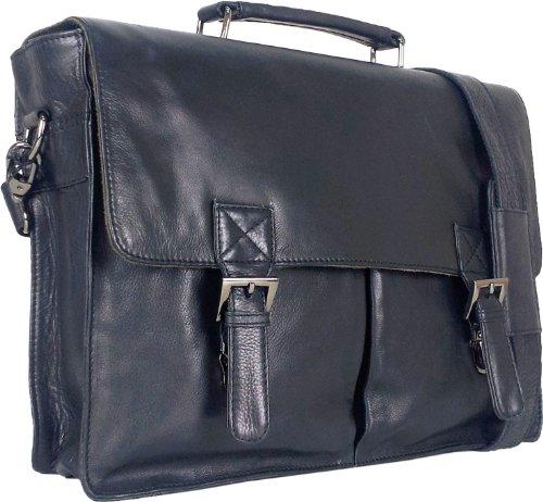 "UNICORN Echt Leder 16.4\"" laptop Tasche Messenger Aktentasche Schwarz bag #3F"