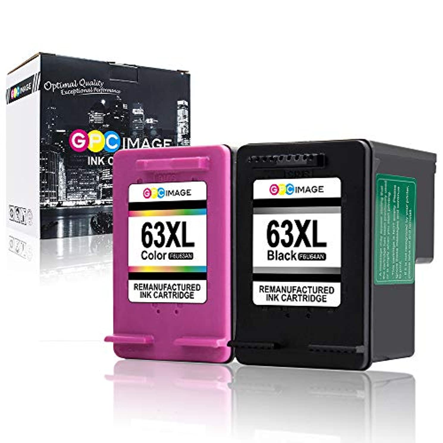 GPC Image Remanufactured Ink Cartridge Replacement for HP 63XL 63 XL to use with Officejet 5252 5255 5258 4650 4655 3830 Envy 4520 4516 Deskjet 1112 2130 3634 3632 2132 (1 Black 1 Tri-Color 2-Pack)