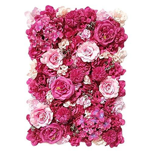Milageto Paneles florales 24'x 16' Pantalla de pared de flores artificiales flores románticas fondo Floral decoración de boda foto fotografía Fondo decoración - Rosa