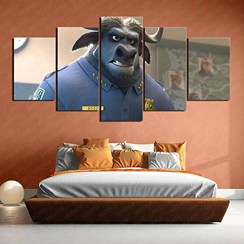 Customizable Zootopia Idris Elba, Chief of Buffalo Bogota Canvas Wall Art Pictures 5 pcs 200x100cm Frameless