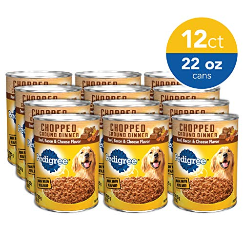 PEDIGREE Chopped Ground Dinner Adult Canned Soft Wet Meaty Dog Food Beef, Bacon & Cheese Flavor, (12) 22 oz. Cans