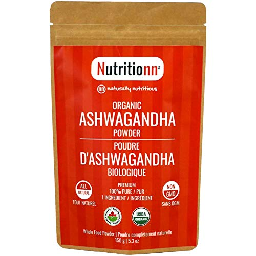 Organic Ashwagandha Powder by Nutritionn - 100% Pure Natural Premium Whole Food Supplement - 150 g