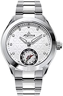 Alpina Horological Smartwatch Silver Guilloche Dial Stainless Steel Ladies Watch AL-285STD3C6B