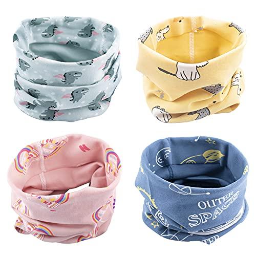 Fengaim 4Pcs Bufanda de los niños, Pañuelo Cuello Bebé Otoño Invierno Bufanda de algodón de Invierno Calentador de Cuello Pañuelos para bebés, 0-8 años de Edad