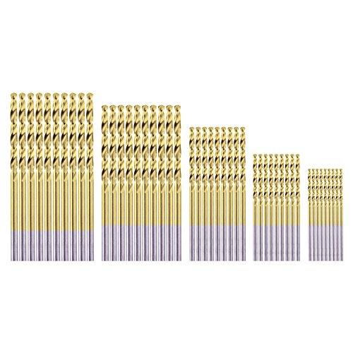 HSS Micro Titanium Coated Twist Drill Bit Set, High Speed Steel Jobber Length Drill, Split Point, 50 PCS Drill Bits Tools, 1/32' to 7/64'(0.8,1.6,2.0,2.5,3.0) for Wood Plastic and Metal