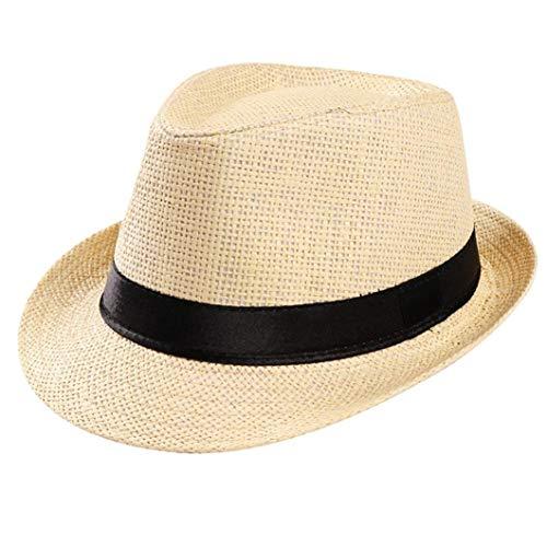 Verano Paja Panamá Sombrero Fedora para Mujer y Hombre, Cleanrance! Unisex Borsalino Gánster Tapa Playa Sol Sombrero de Paja Banda Campesino (Café) - Beige, one size