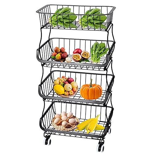 Fruit Basket, 4 Tier Market Storage Holder with Rolling Wheels & Suction and 6 S-Hooks, Stackable Metal Wire Baskets Utility Rack, Storage Organizer Bin for Kitchen, Pantry Closet