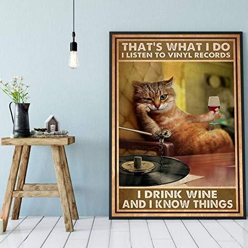 Lawenp Letreros personalizados para exteriores Eso es lo que hago Escucho discos de vinilo Bebo vino y sé cosas Cartel de chapa Gracioso Gato Lámina Vintage Vino Arte de pared Música
